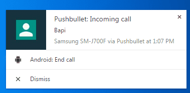 User Interface Pushbullet Log Call