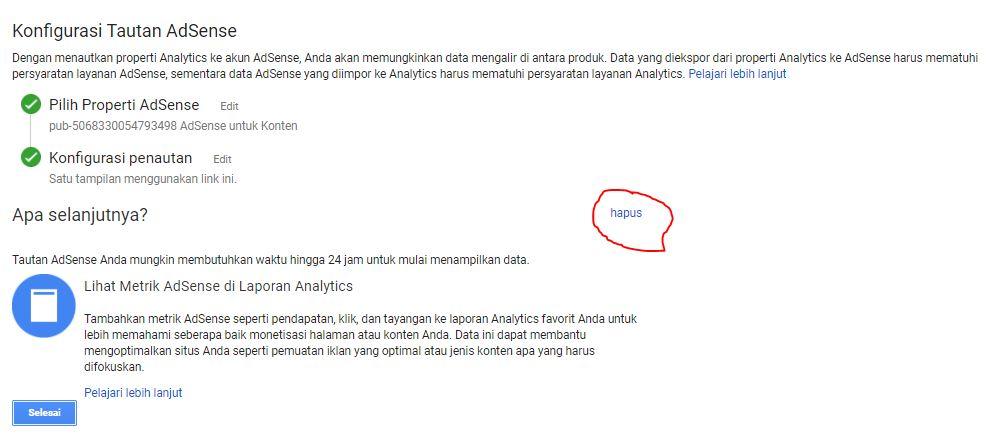 Cara Menghapus Google Adsense Yang Terhubung Google Analytics