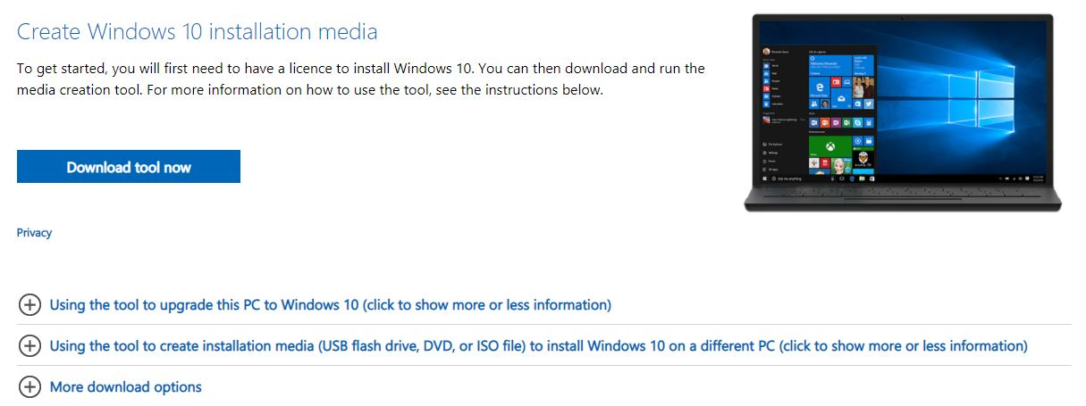Windows 10 Installation Media Tool